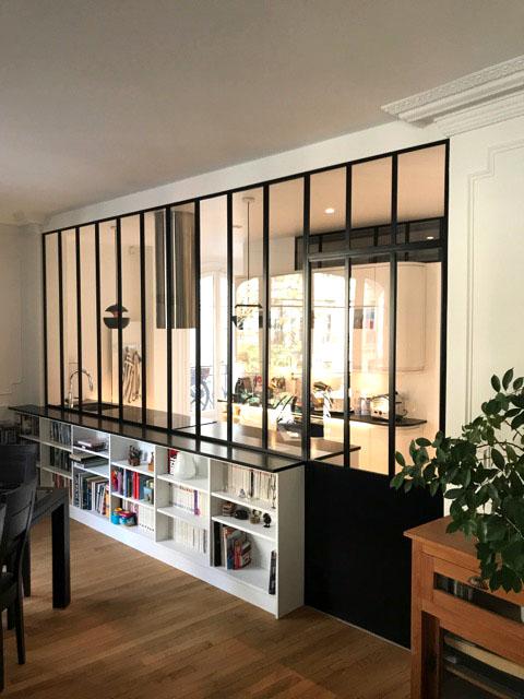 Verrière d\'intérieur en acier - séparation cuisine & salon ...