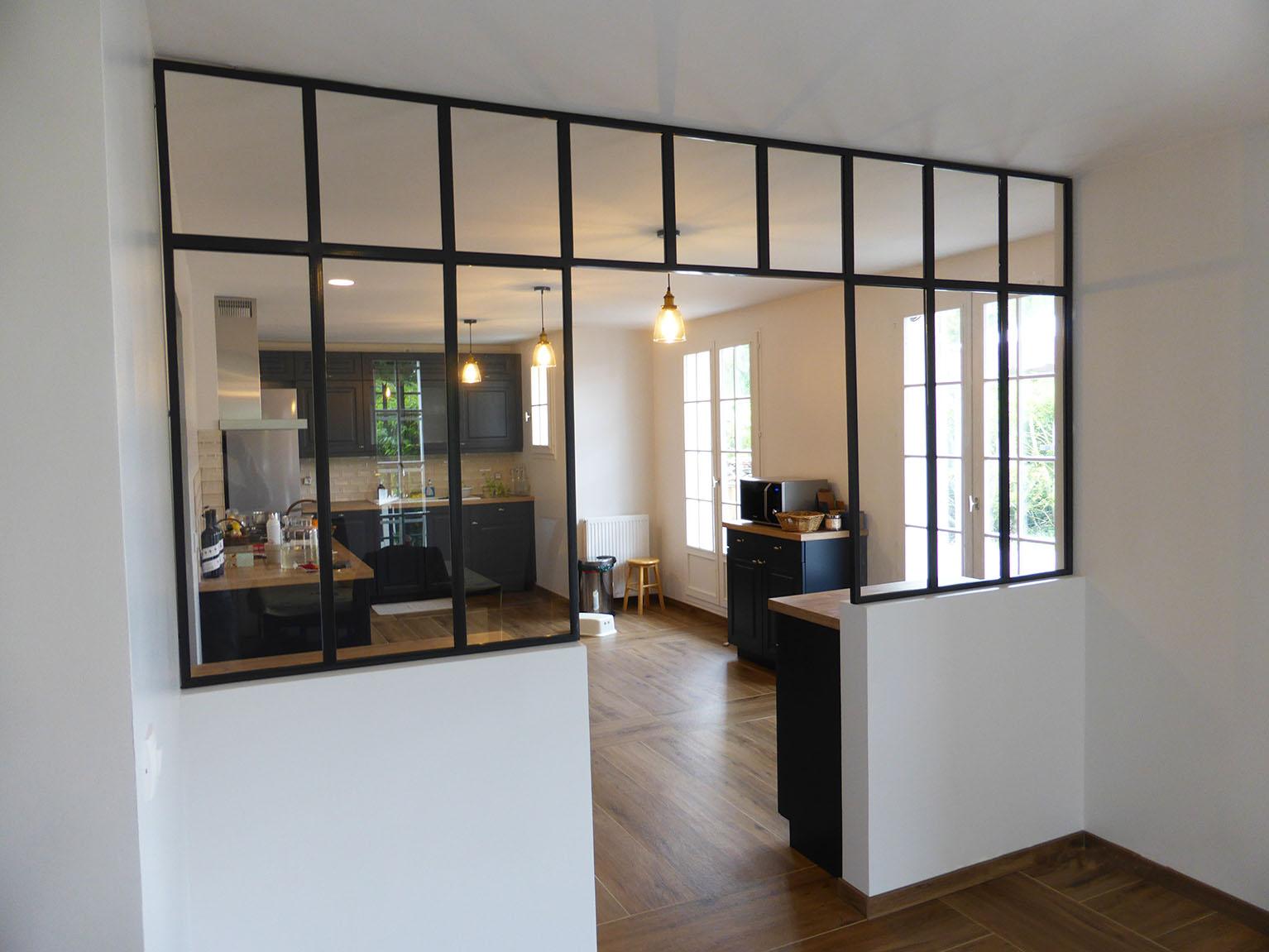 Verrière métallique ouverte - séparation salon cuisine ...