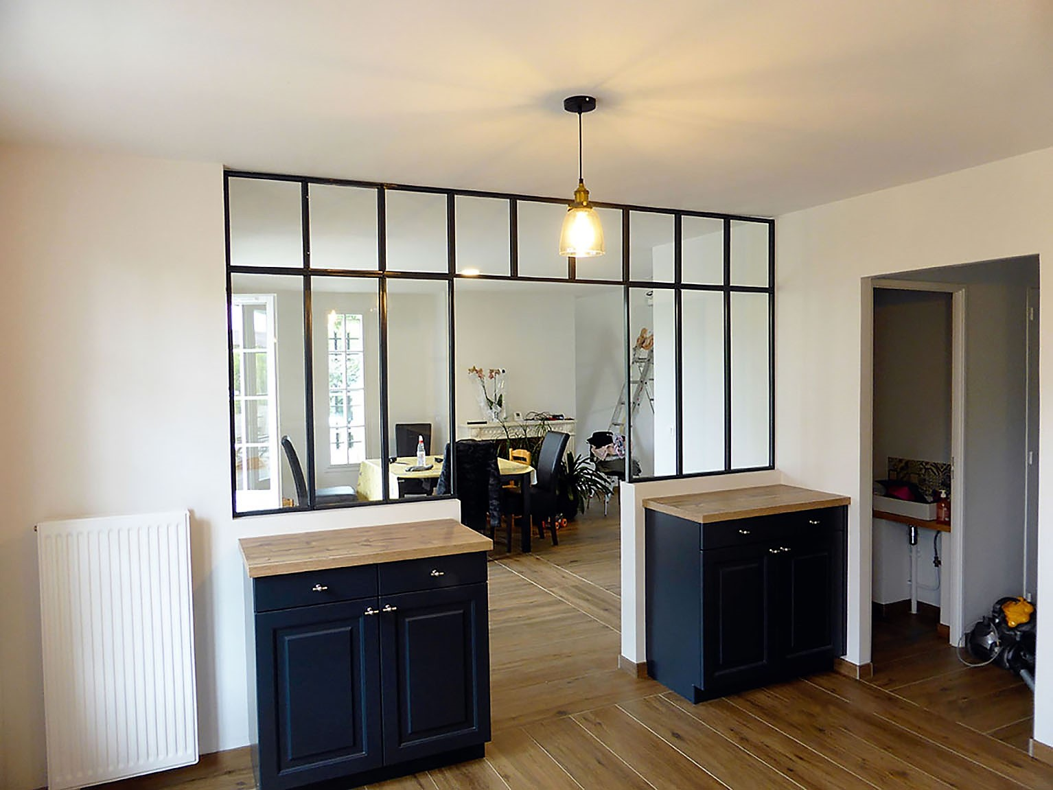 Meuble Separation Cuisine Salon verrière métallique ouverte - séparation salon cuisine