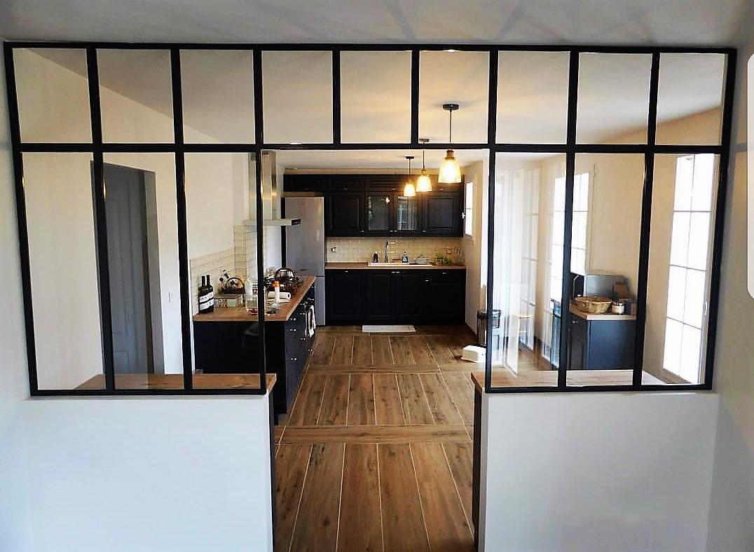 Porte Separation Salon Cuisine verrière métallique ouverte - séparation salon cuisine